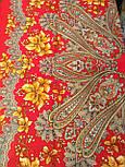 Багрянец осени 1545-5, павлопосадский платок шерстяной с шерстяной бахромой, фото 7