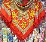 Багрянец осени 1545-5, павлопосадский платок шерстяной с шерстяной бахромой, фото 10
