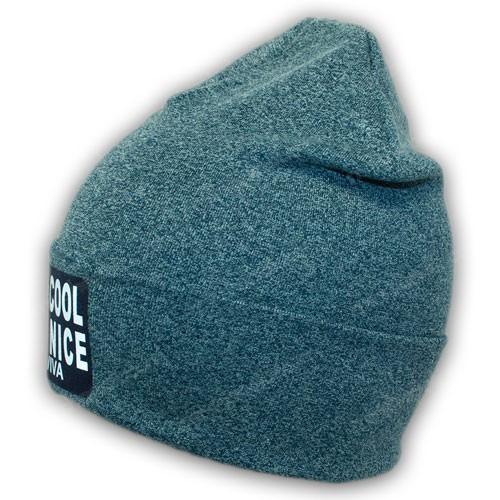 Весенняя двойная трикотажная шапка с отворотом