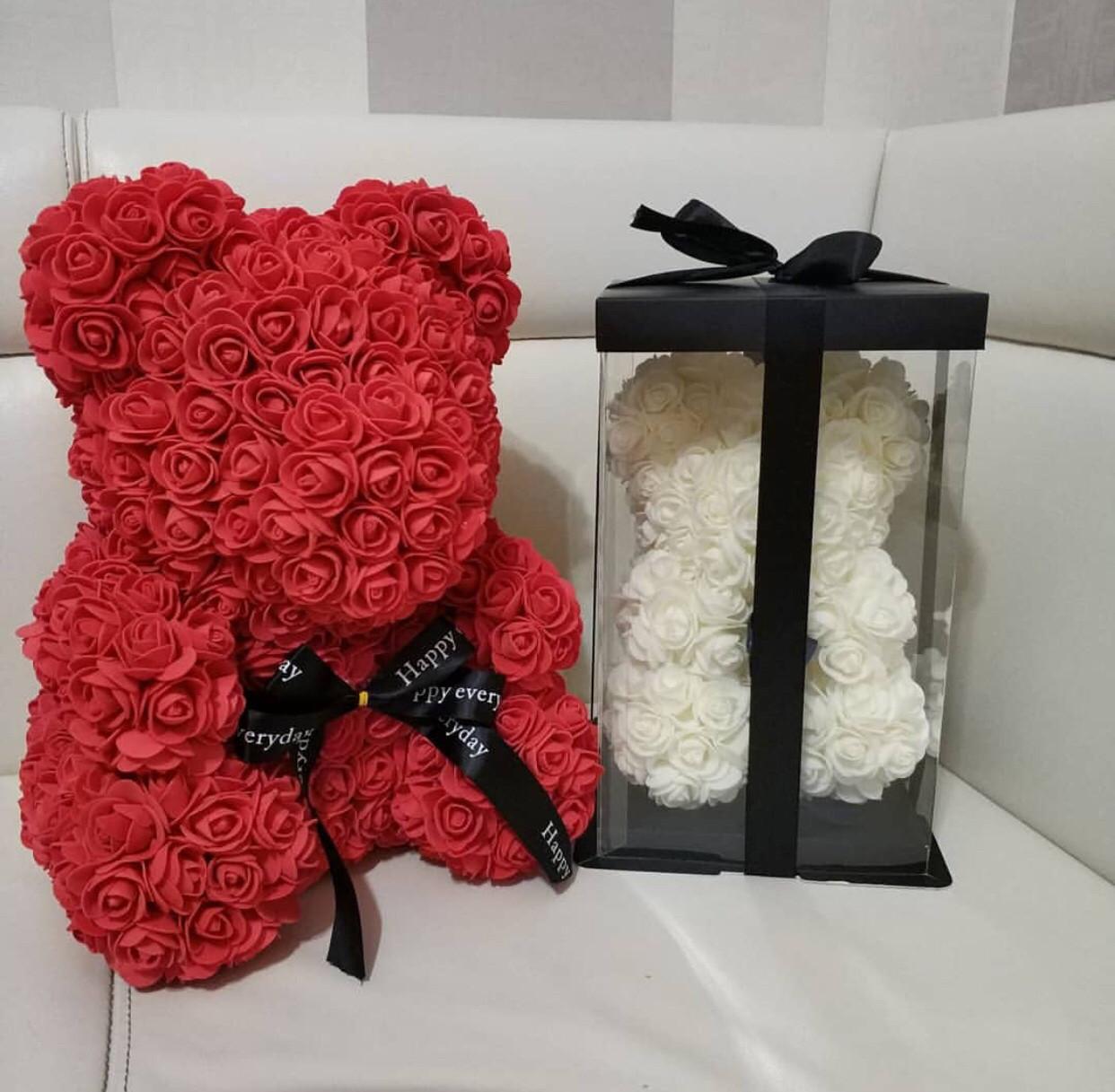 Мишка тедди из 3D роз в оригинальной упаковке, необычный подарок девушке