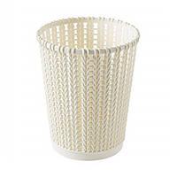 Корзина круглая, имитация ротанга, 18 см, пластик, белый