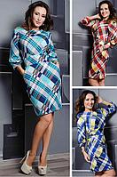 Трикотажное платье в клетку по диагонали с рукавами 3/4 и широким вшитым поясом