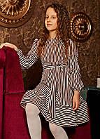 Легкое, нарядное,весеннее платье Филадельфия ,ткань софт,полоска цвета марсала , размеры 128,134,140.146,152