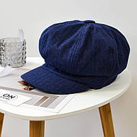 Модная женская шерстяная кепи с козырьком синего цвета