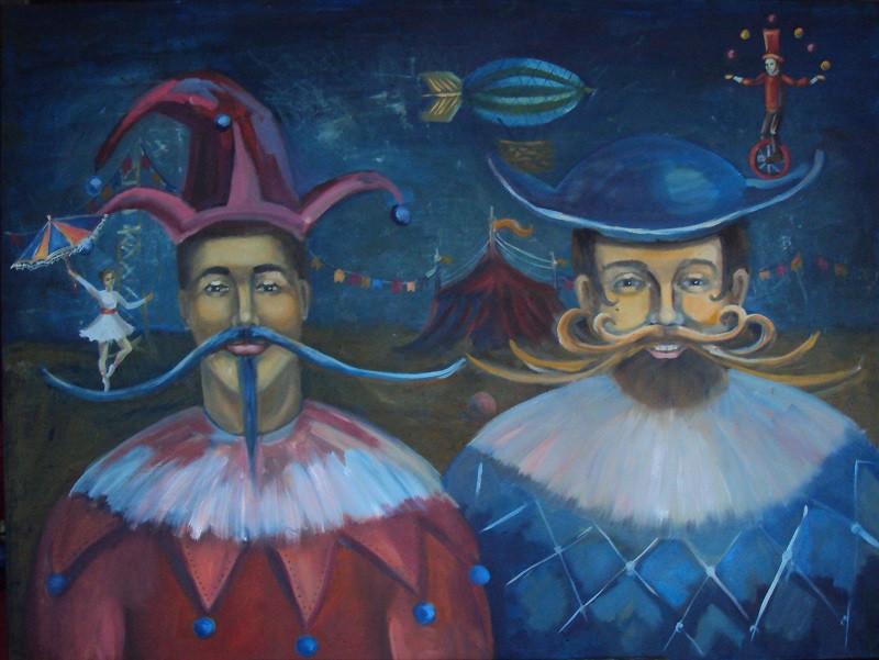"Картина маслом ""Музы цирка"", 90х120 см, холст, масло"