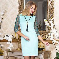 """Нарядное замшевое платье мятное размеры M, L """"Бавер"""", фото 1"""