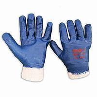 Перчатки защитные, маслобензостойкие, нитриловый облив, узкий манжет, уп. — 12 пар