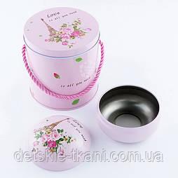 """Набор высоких коробок из 2-х шт розового цвета с листочками """"Париж"""""""