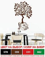 Наклейка интерьерная на кухню Дерево кофе (стикер виниловый, декор кухни, кофейные зерна, чашка)