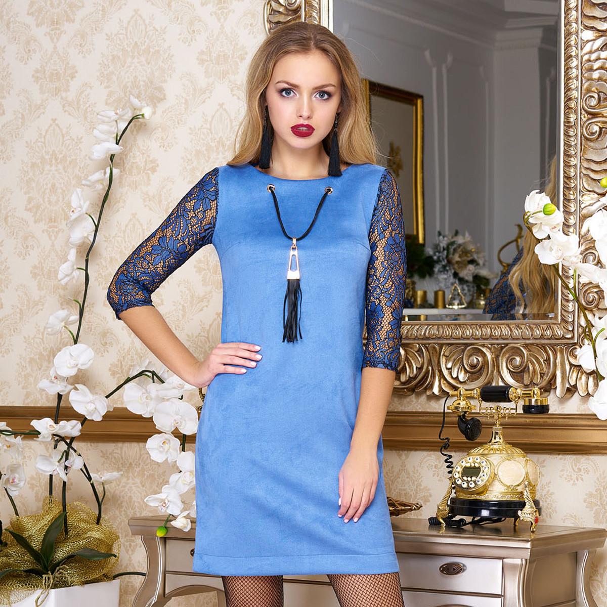 """Голубое нарядное платье из замши с гипюром размер S """"Бавер"""""""