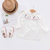 Красивая детская рубашка с длинными рукавами, вышитий рисунок, натуральный материал, код (38103)