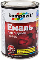 Эмаль для пола ПФ-266 Kompozit красно-коричневый глянец 0,9кг