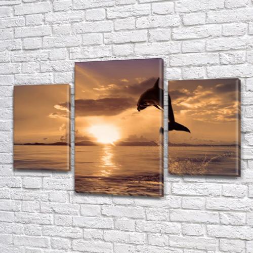 Дельфин на рассвете, модульная картина (животные, рыбы) на Холсте, 80х120 см, (55x35-2/80x45)