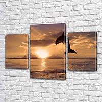 Дельфин на рассвете, модульная картина (животные, рыбы) на Холсте, 80х120 см, (55x35-2/80x45), фото 1