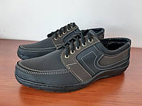 Туфли мужские черные с коричневой вставкой (код 189), фото 1