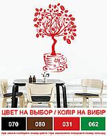 Декоративная наклейка на стену Дерево кофе (виниловая пленка самоклеющаяся, зерна кофейные, чаша)