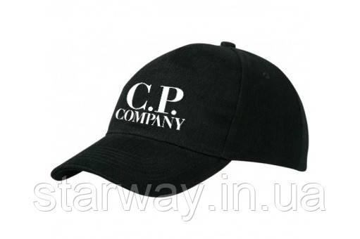 Кепка чорна бейсболка   cp company логотип принт