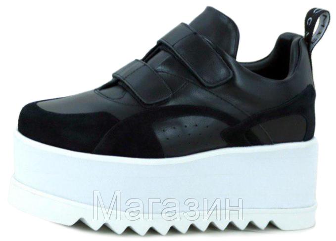 Женские кроссовки на платформе Stella McCartney Eclypse Platform Sneakers Стелла МакКартни на липучке черные