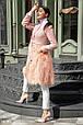 Оригинальное женское пальто с мехом ламы, фото 2