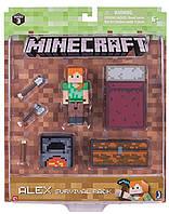 Алекс набор для выживания с кроватью Майнкрафт фигурка Minecraft Alex Action survival pack оригинал Jazwares