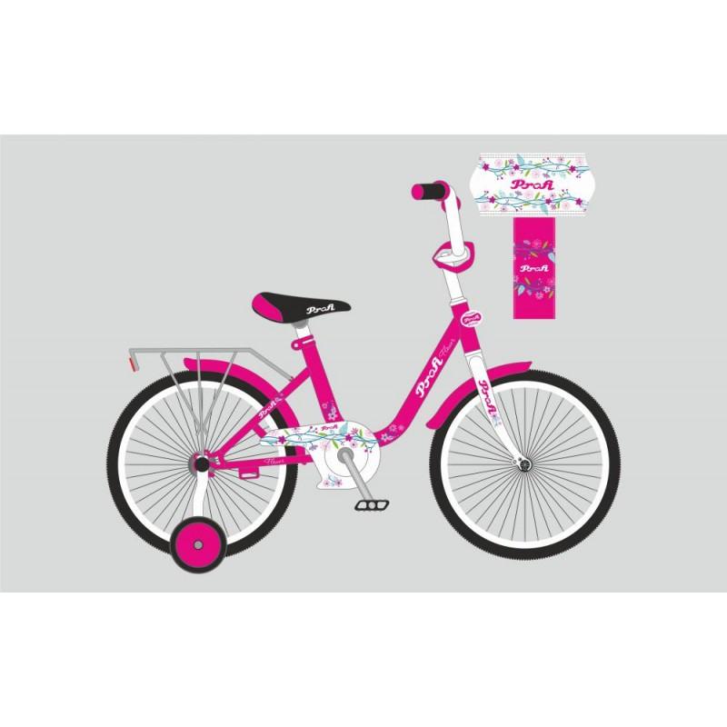 Детский двухколесный велосипед PROFI 16 дюймов для девочки Flower розовый (малиновый), Y1682