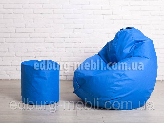 Кресло груша большая + Пуф |  голубой Oxford