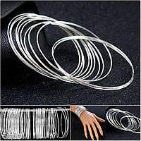 """(100 шт) Тонкие браслеты """"Неделька"""" d=6,5см (ширина одного браслета 1мм)  Цвет - Серебро"""