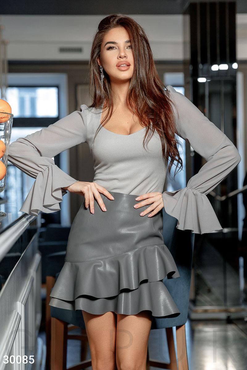 a14d606360aa8 Короткая кожаная юбка с воланами - Модная одежда, обувь и аксессуары  интернет-магазин BeModa