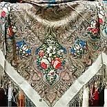 Чародейка Зима 1749-1, павлопосадский платок шерстяной (двуниточная шерсть) с шелковой вязаной бахромой, фото 4