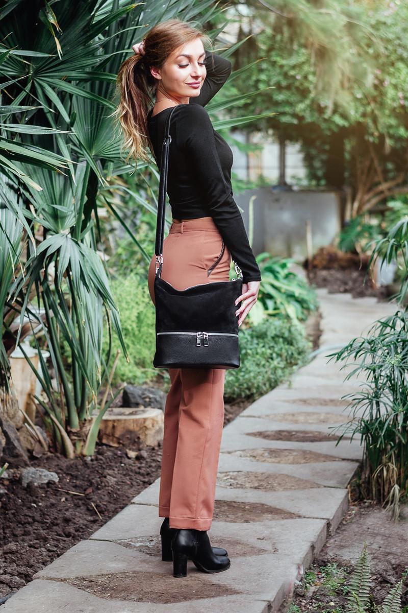 Женская сумка кожаная 42 черный флотар/замш 014201-0501
