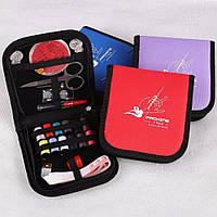 Дорожный набор, все для шитья, Packing I Travel, нитки, иглы, булавки, линейка, в красном чехле, Швейні машинки і швейні аксесуари, Швейные машинки и
