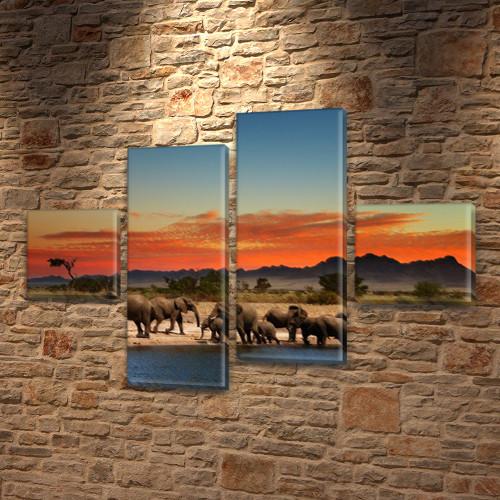 Слоны и горы, модульная картина (животные, Африка) на ПВХ ткани, 70x110 см, (25x25-2/65х25-2)