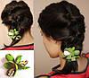 Заколка тройная зеленая орхидея. Цветы из полимерной глины
