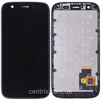 Дисплей (экран) для Motorola XT1032 Moto G, XT1033, XT1036 + тачскрин, черный, с передней панелью