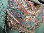 Волшебный узор 1290-3, павлопосадский платок (шаль) из уплотненной шерсти с шелковой вязанной бахромой, фото 3