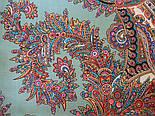 Волшебный узор 1290-3, павлопосадский платок (шаль) из уплотненной шерсти с шелковой вязанной бахромой, фото 5