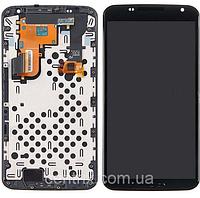 Дисплей (экран) для Motorola XT1100 Nexus 6 Google, XT1103 + тачскрин, черный, с передней панелью