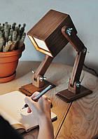 Лампа настольная деревянная светодиодная