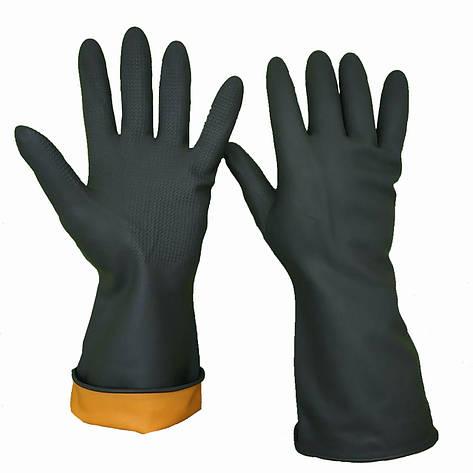 Перчатки для работы с химией, латексные, плотные, SUN, размер L, фото 2