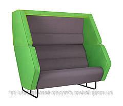 Диван Shell Фетр зеленый/Фетр светло-серый/Нео Dk.Grey, черный графит