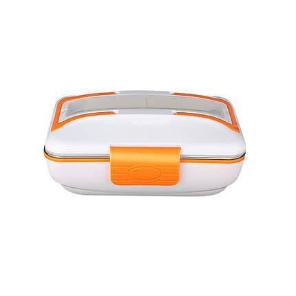 Электрический ланч бокс с подогревом 2-в-1 12/220В Electric Lunch Box с металлической съемной чашей Оранжевый, фото 2