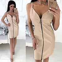 Стильное женское платье из экокожи, фото 1