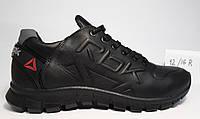 Мужские кожаные черные кроссовки Reebok 40,41,42,43,44,45