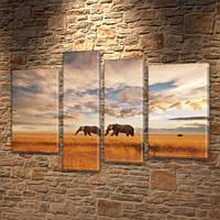 Слоны в саванне, модульная картина (животные, Африка) на ПВХ ткани, 85x110 см, (55x30-2/80х20/65x20)