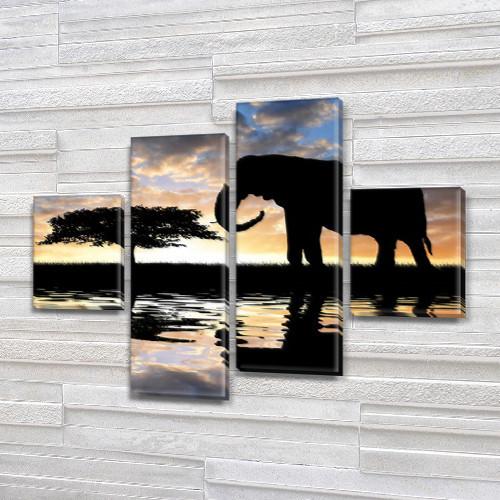 Слон и африканская акация, модульная картина (животные, слоны) на ПВХ ткани, 85x110 см, (35x25-2/75х25-2)