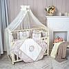 """Премиум комплект в  стандартную детскую кроватку 120/60  """"Fiori"""" серый с бежевым"""
