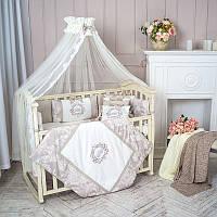 """Премиум комплект в  стандартную детскую кроватку 120/60  """"Fiori"""" серый с бежевым, фото 1"""