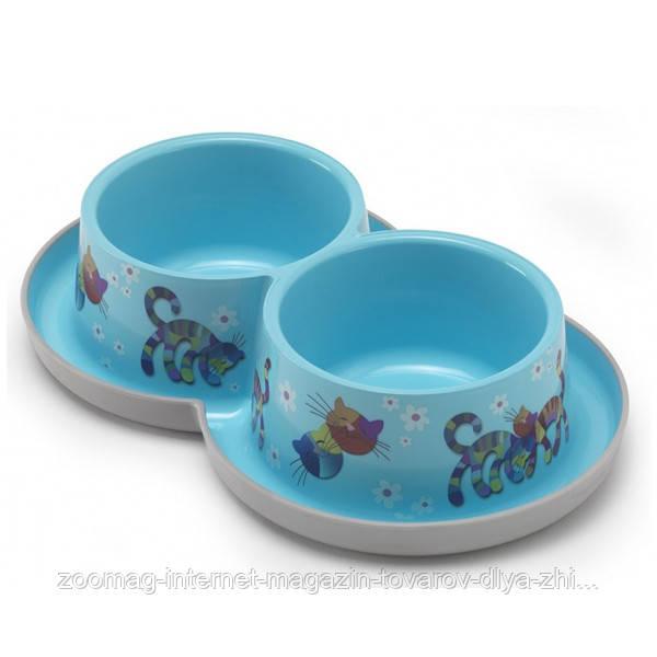 Moderna Double Trendy Dinner Friends Forever миска с защитой от муравьёв пластиковая двойная для кошек (2*350 мл, d-10 см) ярко-голубой