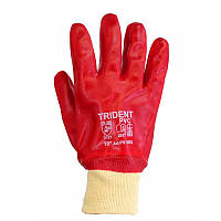 Перчатки хб прорезиненные ПВХ МБС красные 5003 TRIDENT (артикул - 11091), фото 1