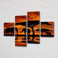 Слоны и акация, модульная картина (животные, Африка) на ПВХ ткани, 85x110 см, (35x25-2/75х25-2)